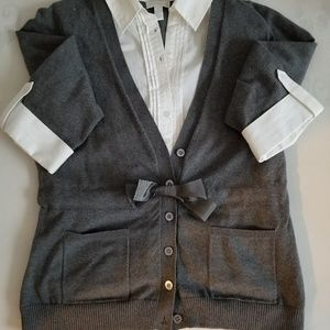 Gray sweater with white collar shirt & bow accent